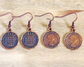 Copper Coin Earrings -  Cute, Quirky Charms three Pence Money Earrings - Copper Colored Jewellery / Jewelry