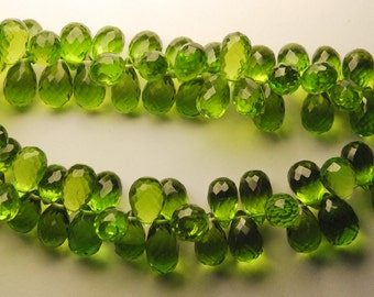 20 Pcs of Extremely Beautiful ,Super Finest,,PARROT GREEN QUARTZ Micro Faceted Tear Drops Shape Briolettes,10-11mm aprx