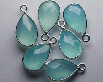 925 Sterling  Silver, AQUA Chalcedony Faceted Pear Shape Pendant,10 Piece of 16mm