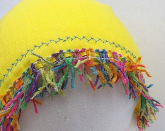 68 Sunshine Yellow with Rainbow Trim 100% Linen Snood Head Covering
