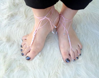 Barefoot Sandals, Foot jewelry,  Yoga, Anklet , Bellydance, Steampunk, Beach Pool, Wedding, Sexy.