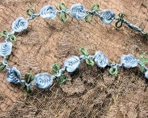 Vintage French Silk Ribbon Rosettes Roses Rococo Trim Ribbonwork French Blue Flower Passementerie Trim Flowers French Dolls Heirloom Sewing