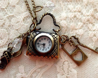 Vintage  Handbag and High Heels Pocket Watch Necklace.   Antique Bronze Tone.