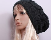 Slouchy Beanie Hat  Graphite Color Handknit Pattern in the Braids Oversize