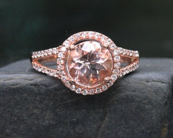 Rose Gold Morganite Ring Diamonds Halo Split Shank Wedding or Engagement Ring (Choose color and size options at checkout)