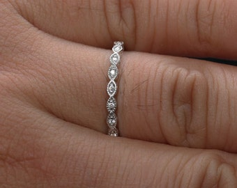 MILGRAIN Marquese 14k White Gold and Diamond Wedding or Engagement Ring (Choose color and size options at checkout)