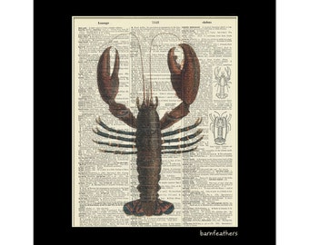 Lobster Dictionary Art - Vintage Dictionary Art Print - Book Page Art Print - Home Decor No. P69