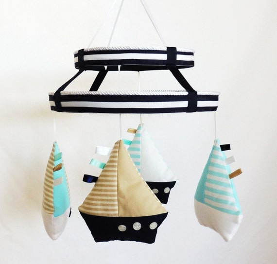 Baby Mobile- Nautical Sailboat Mobile- Nursery Mobile- Baby Gift- Crib Mobile