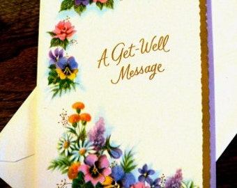 vintage cards ... A GET WELL MESSAGE retro Card w envelope ...