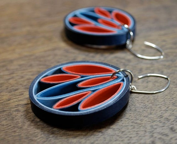 Paper earrings st anniversary gift by