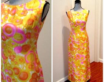 Festival Finest - 60s Neon Pattern Sleeveless Maxi Dress - Small