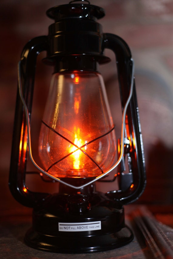 Electric Hurricane Lantern Table Lamp BLACK 5W AMBER Bulb