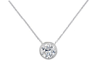 Solitaire Pendant Necklace Sterling Silver - Large Dazzling 6 mm Bezel Set CZ Pendant