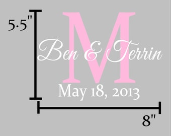 Custom Monogram Initial, Names, and Date Vinyl Decal / Sticker