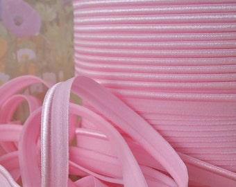 3yds Elastic Ribbon Stretch Piping Light Pink Lip Cord Sewing Trim 1/2 wide Elastic by the yard