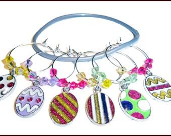 Easter Wine Charms - Easter Gift - Easter Hostess Gift - Easter Wine Glass Charms - Easter Egg Wine Glass Charms - Easter Housewarming Gift