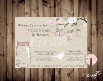 Printable Bridal Shower Invite Hanging Mason Jars/Bridal Shower INVITATION