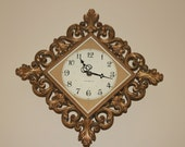 Vintage Mid Century Modern Ornate GE Wall Clock Gold Hollywood Regency Chic French Country