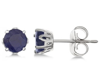 1.40ct Blue Sapphire Stud Earrings in Sterling Silver Prong Setting