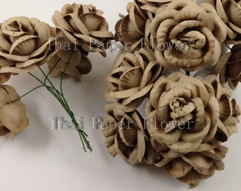 25 Large taupe Roses Mulberry Paper Flowers Scrapbook Craft Wedding Supply No.148-60