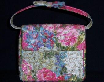 Vintage Magid Pink Periwinkle Green Gold Floral Flower Print Embroidered Evening Bag or Purse Vintage