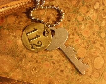 Key and 112 Brass Tag Necklace