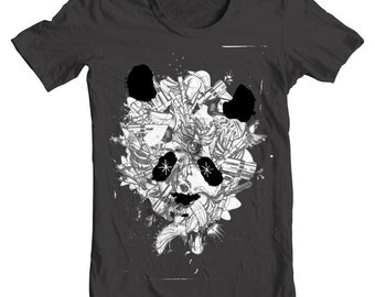 Conflict - panda art t-shirt by Black Ink Art.