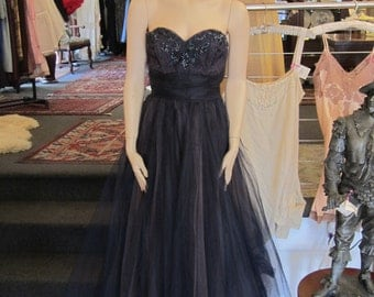 Vintage Midnight Blue Strapless Tulle Gown with Iridescent Blue Sequins and Beads, ca 1950s