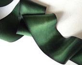 Green ribbbon, Pine Needle hand dyed Green silk ribbon-2 yard increments