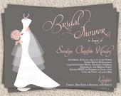 Bridal Shower Invitation, Wedding Shower Invitations - Dress on Hanger - Printable Bridal Shower Invitation