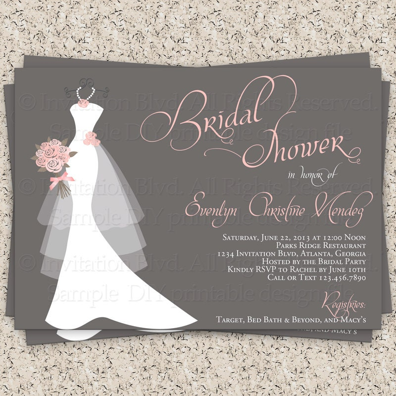 Bridal Shower Invitation, Wedding Shower Invitations – Dress on ...