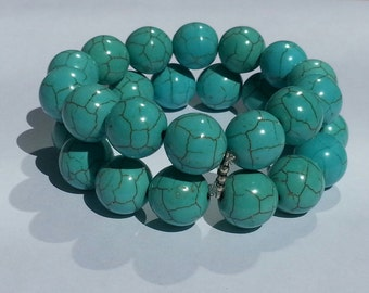 2 Strands Chunky Turquoise Bracelet choice of 16mm beads or 16mm beads Very cute in Person