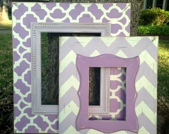 set of two distressed frames moroccan 8x10 & chevron 5x7 in 2-tone purple