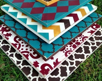 the elizabeth collection--set of five distressed frames, moroccan, chevron, casablanca, damask, & harlequin