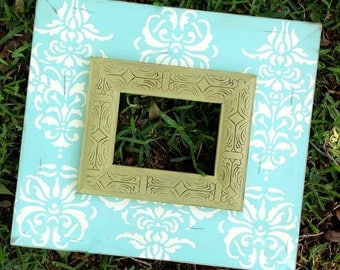 french damask distressed 5x7 frame-- robins egg and heirloom white with moss etched trim