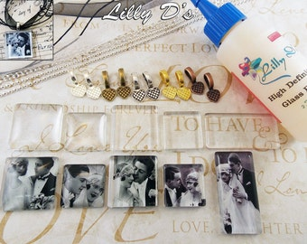 10 DIY Necklace Bail Kits- 10 Rolo, Ball Chain, or Organza Ribbons, - 10 Colored Bails - 10 Square/Rectangle Clear Glass Cabochons