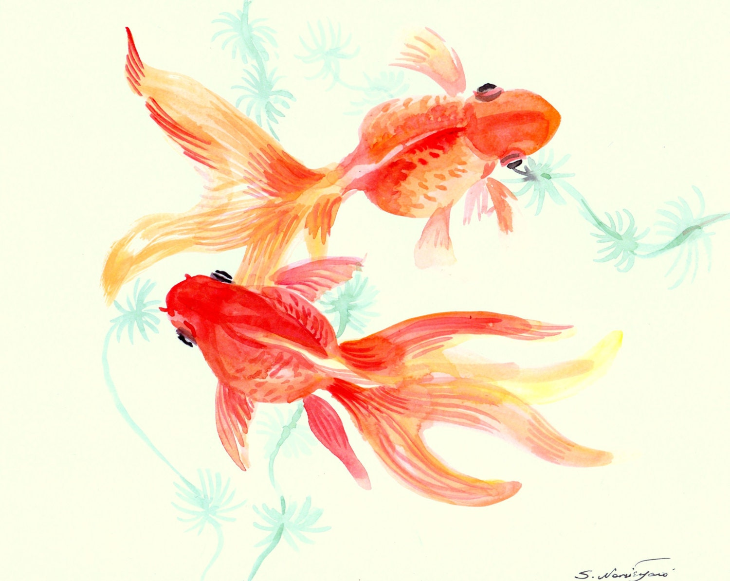 goldfish original watercolor painting 8 X 10 nursery art
