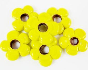 6 Large Chunky Flower Artisan Handmade Citrus Yellow Glass Beads - 22mm