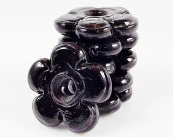 6 Large Chunky Flower Artisan Handmade Black Glass Beads - 22mm