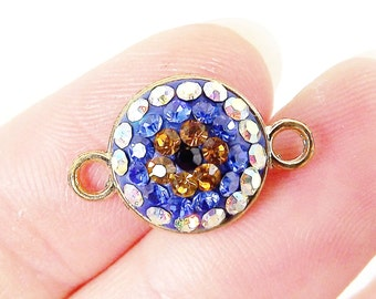Blue Evil Eye Swarovski Crystal Connector - Gold Plated - 1PC
