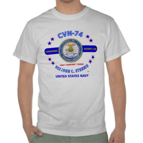 United States Navy  USS John  C Stennis CVN-74- Honor-Commitment-Courage- White Shirt