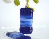 Unique Fused Glass Earrings - blue, dark blue, white glass - Stripes Series