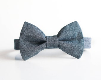 Toddler Bow Tie - Blue Gray Bow Tie, Baby Bow Tie, Little Boys Bow Tie, Toddler Boys Easter Bow Tie, Spring Bow Tie, Ring Bearer Bow Tie