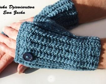 Jeans Fingerless Mittens , warmers with botton , fingerless gloves , glove