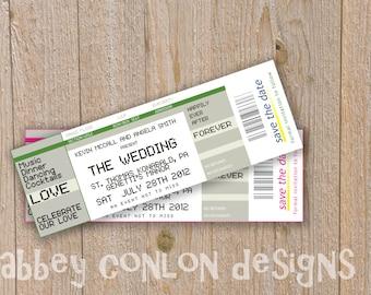 save the date ticket, DIY Customizable concert ticket