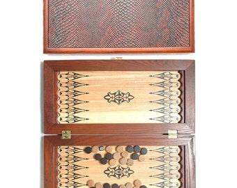 "20"" HQ Handcarved wooden BACKGAMMON board ""Skin of Crocodile"""