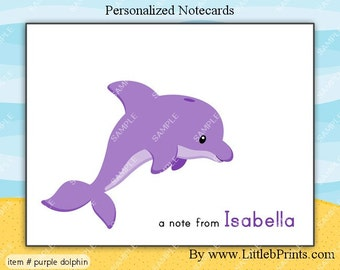 Purple Dolphin Note Cards Set of 10 personalized flat or folded cards