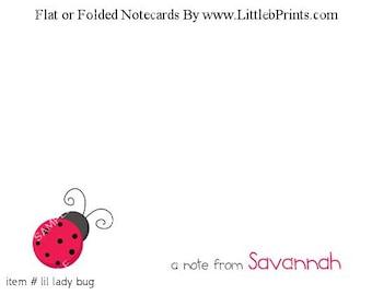 Ladybug Lady Bug Red Note Cards Set of 10 personalized flat or folded cards