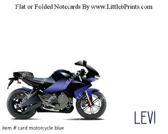Motorcycle Note Cards Set of 10 personalized flat or folded cards