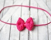 Tiny dark pink crochet bow headband, newborn headband, photography prop.